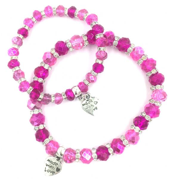 Mummy and me bracelet kit - Candy floss collection with crystal srondelle spacers Makes 28 bracelets (£1.99 each) bkcf-001